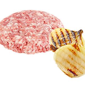 Hamburguesa de pollo con queso y cebolla